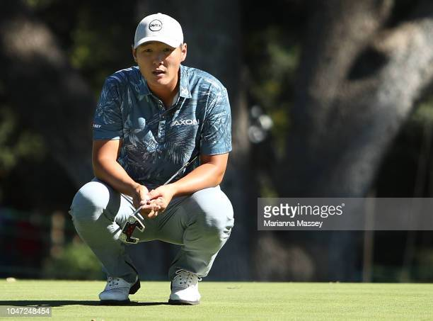 Danny Lee of New Zealand lines up a putt on the 13th hole during the final round of the Safeway Open at the North Course of the Silverado Resort and...