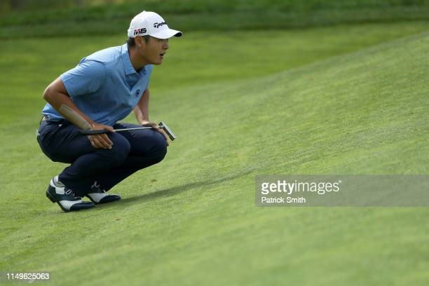 Danny Lee of New Zealand lines up a putt on the 14th green during the first round of the 2019 PGA Championship at the Bethpage Black course on May 16...