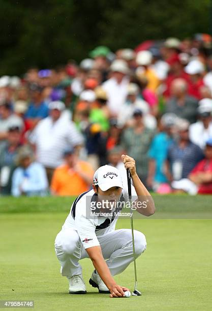 Danny Lee of New Zealand lines up a putt on the 18th hole during the final round of the Greenbrier Classic held at The Old White TPC on July 5 2015...