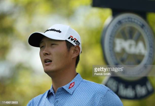 Danny Lee of New Zealand on the 11th hole during the first round of the 2019 PGA Championship at the Bethpage Black course on May 16 2019 in...