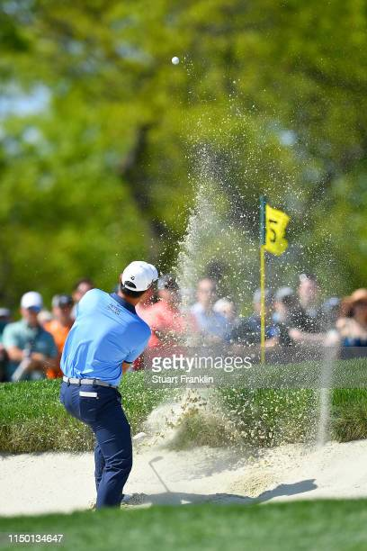 Danny Lee of New Zealand plays a shot from a bunker on the fifth hole during the third round of the 2019 PGA Championship at the Bethpage Black...