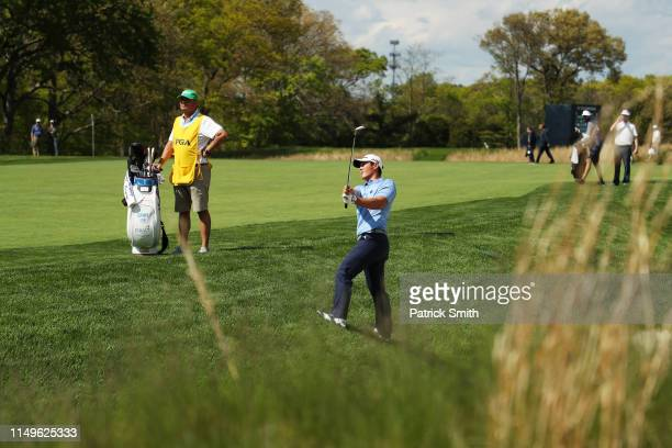 Danny Lee of New Zealand plays his second shot on the 13th hole during the first round of the 2019 PGA Championship at the Bethpage Black course on...