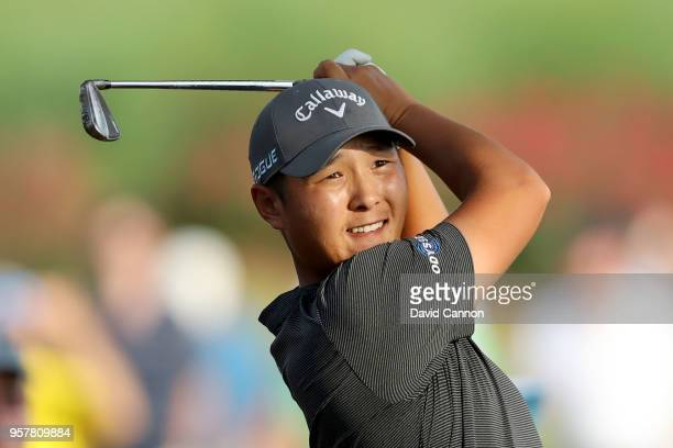 Danny Lee of New Zealand plays his second shot on the par 4 18th hole during the third round of the THE PLAYERS Championship on the Stadium Course at...