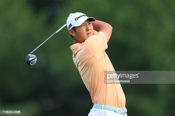 Danny Lee of New Zealand plays his shot from the 14th tee during the first round of the 3M Open at TPC Twin Cities on July 04 2019 in Blaine Minnesota