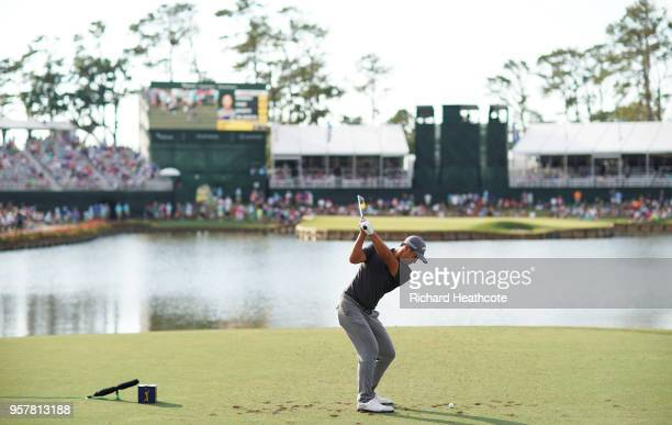 Danny Lee of New Zealand plays his shot from the 17th tee during the third round of THE PLAYERS Championship on the Stadium Course at TPC Sawgrass on...