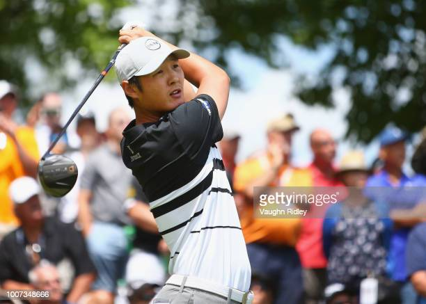 Danny Lee of New Zealand plays his shot from the first tee during the final round at the RBC Canadian Open at Glen Abbey Golf Club on July 29 2018 in...