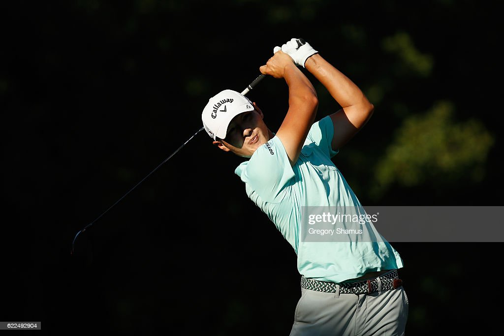 Danny Lee of New Zealand plays his shot from the ninth tee during the second round of the OHL Classic at Mayakoba on November 11, 2016 in Playa del Carmen, Mexico.