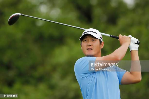 Danny Lee of New Zealand plays his shot from the second tee during the final round of the 2019 Valero Texas Open at TPC San Antonio Oaks Course on...