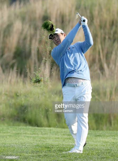 Danny Lee of New Zealand plays his third shot on the 11th hole during the second round of the 2019 PGA Championship on the Black Course at Bethpage...