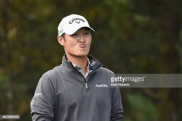 Danny Lee of New Zealand prepares for his tee shot on the 2nd hole during the first round of the CJ Cup at Nine Bridges on October 19 2017 in Jeju...