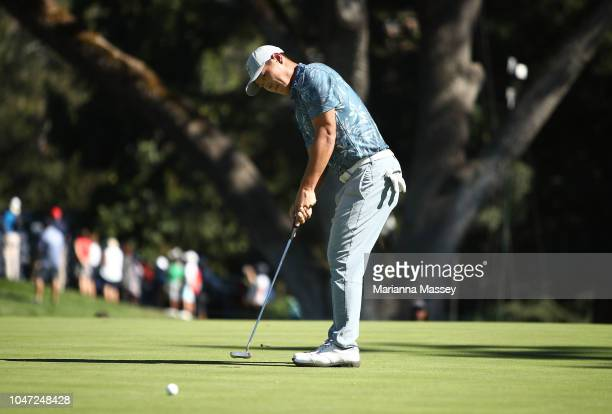 Danny Lee of New Zealand putts on the 13th hole during the final round of the Safeway Open at the North Course of the Silverado Resort and Spa on...