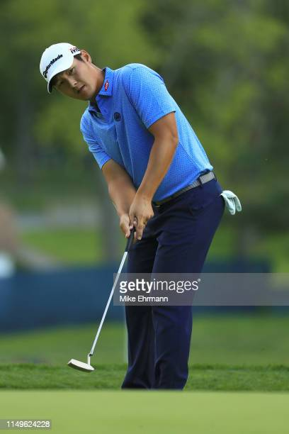 Danny Lee of New Zealand putts on the 15th green during the first round of the 2019 PGA Championship at the Bethpage Black course on May 16 2019 in...