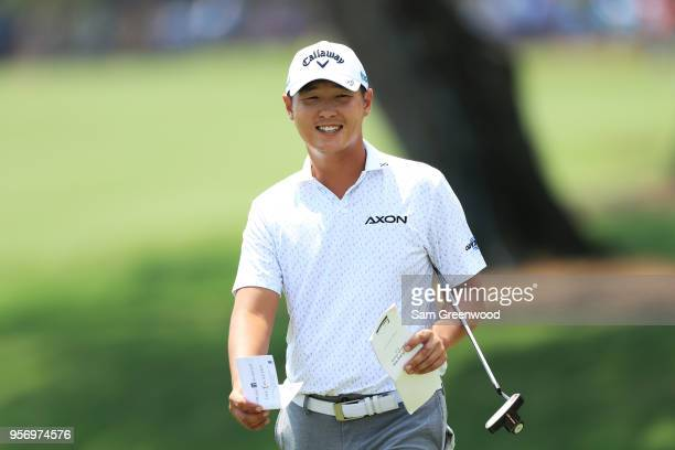 Danny Lee of New Zealand reacts on the ninth green during the first round of THE PLAYERS Championship on the Stadium Course at TPC Sawgrass on May 10...