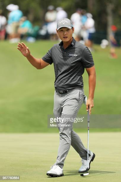 Danny Lee of New Zealand reacts on the second green during the third round of THE PLAYERS Championship on the Stadium Course at TPC Sawgrass on May...