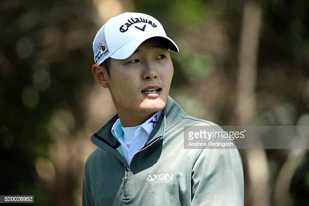 Danny Lee of New Zealand reacts on the second tee during the third round of the 2016 Masters Tournament at Augusta National Golf Club on April 9 2016...