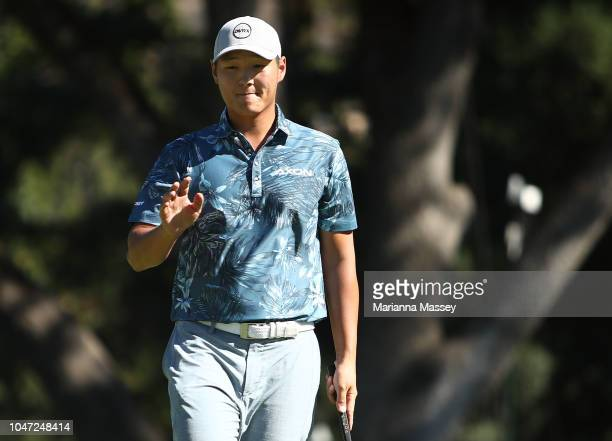 Danny Lee of New Zealand reacts to his birdie putt on the 13th hole during the final round of the Safeway Open at the North Course of the Silverado...