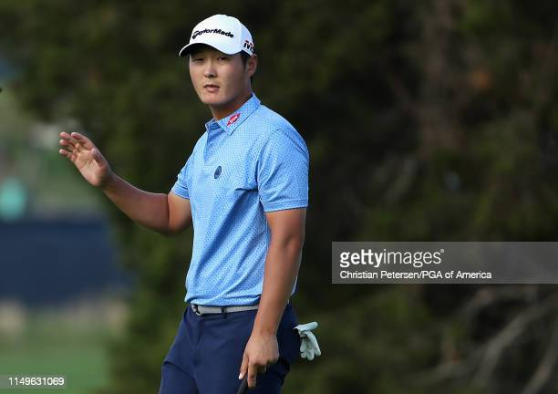 Danny Lee of New Zealand reacts to his putt on the 18th green following the first round of the 2019 PGA Championship at the Bethpage Black course on...