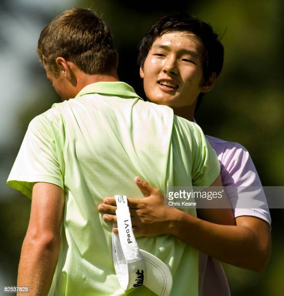 Danny Lee of New Zealand shares a hug with Drew Kittleson after winning the US Amateur Championship at Pinehurst Resort Country Club August 24 2008...