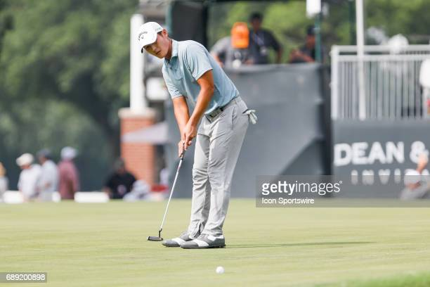 Danny Lee of New Zealand sinks his birdie putt on during the third round of the PGA Dean Deluca Invitational on May 27 2017 at Colonial Country Club...