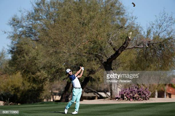 Danny Lee of New Zealand takes his second shot on the second hole during the third round of the Waste Management Phoenix Open at TPC Scottsdale on...