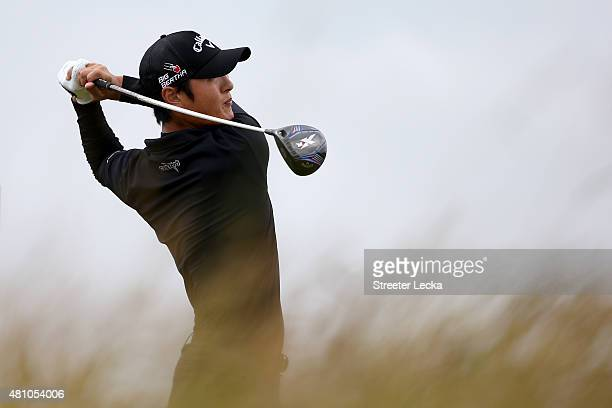 Danny Lee of New Zealand tees off on the 6th hole during the second round of the 144th Open Championship at The Old Course on July 17 2015 in St...