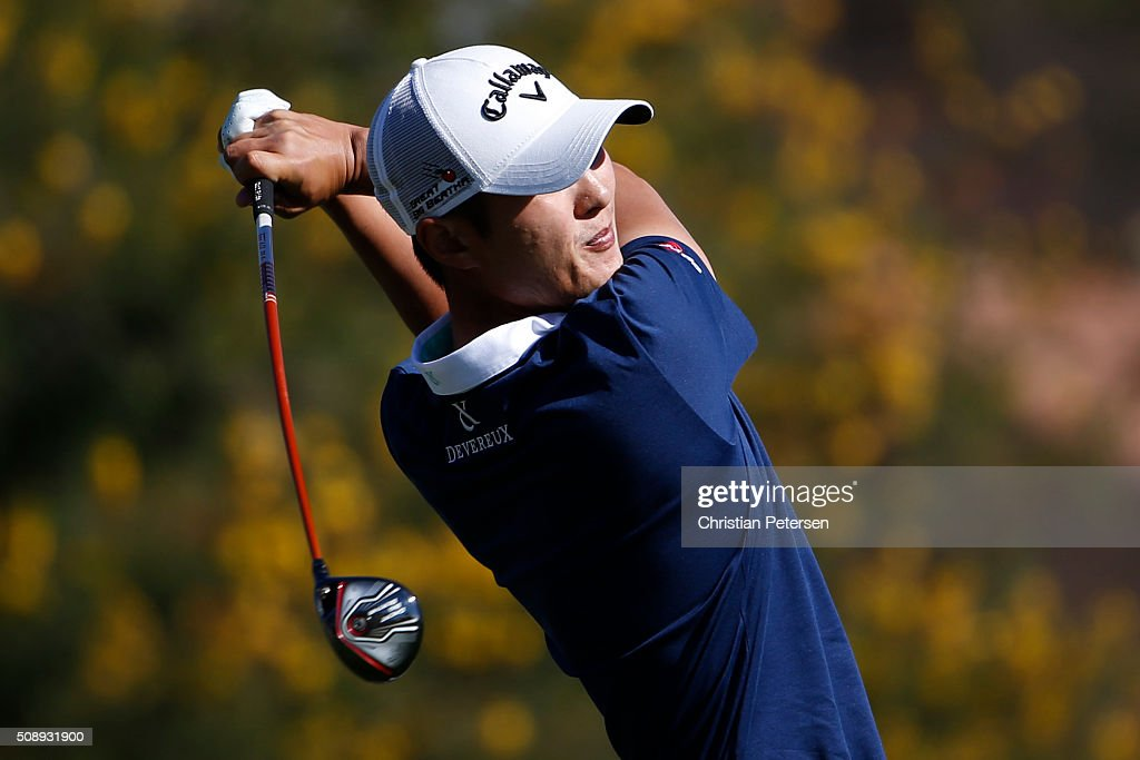Danny Lee of New Zealand tees off on the first hole during the final round of the Waste Management Phoenix Open at TPC Scottsdale on February 7, 2016 in Scottsdale, Arizona.