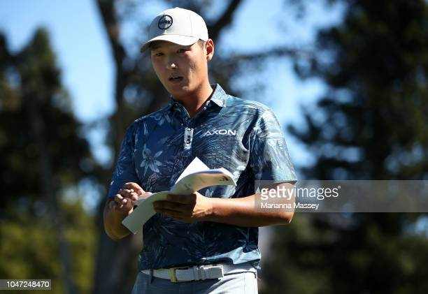 Danny Lee of New Zealand walks off the 13th hole during the final round of the Safeway Open at the North Course of the Silverado Resort and Spa on...