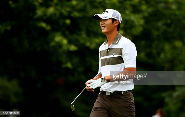 Danny Lee of New Zealand walks on the fourth hole during the third round of the Travelers Championship at TPC River Highlands on June 27 2015 in...