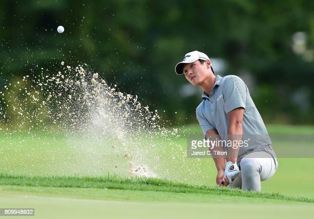Danny Lee plays out of the sand on the 17th hole during round one of The Greenbrier Classic held at the Old White TPC on July 6 2017 in White Sulphur...