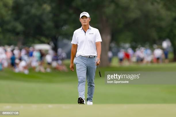 Danny Lee walks up to the 18th green during the final round of the PGA Dean Deluca Invitational on May 28 2017 at Colonial Country Club in Fort Worth...