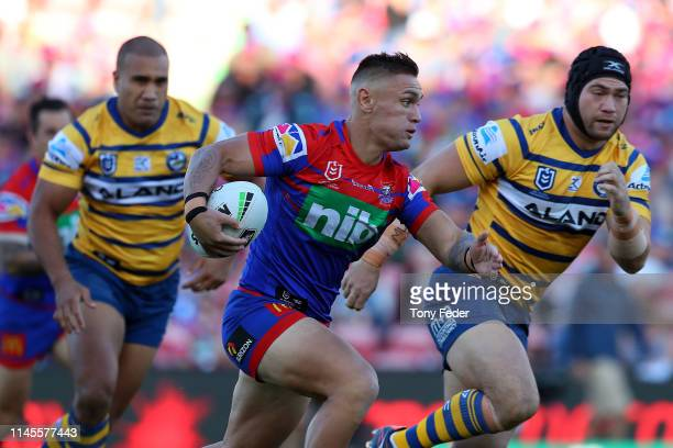 Danny Levi of the Newcastle Knights makes a beak during the round 7 NRL match between the Newcastle Knights and Parramatta Eels at McDonald Jones...