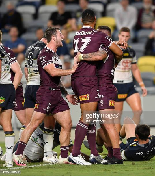 Danny Levi of the Sea Eagles celebrates after scoring a try during the round 11 NRL match between the North Queensland Cowboys and the Manly...