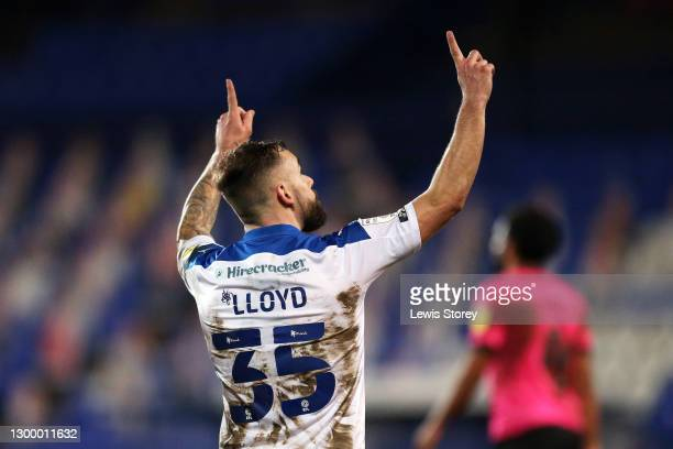 Danny Lloyd of Tranmere Rovers celebrates after scoring his team's first goal during the Papa John's Trophy Quarter Final match between Tranmere...
