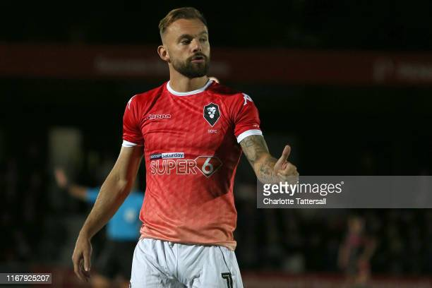 Danny LloydMcGoldrick of Salford City during the Carabao Cup First Round match between Salford City and Leeds United at Moor Lane on August 13 2019...