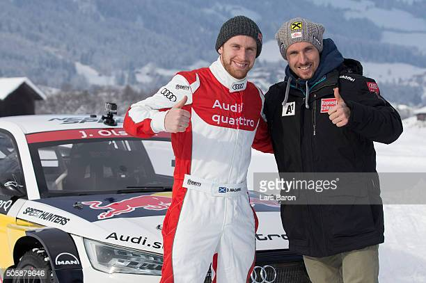 Danny MacAskill and Marcel Hirscher pose for a picture during the final day of the Audi Quattro #SuperQ on January 20 2016 in Kitzbuehel Austria