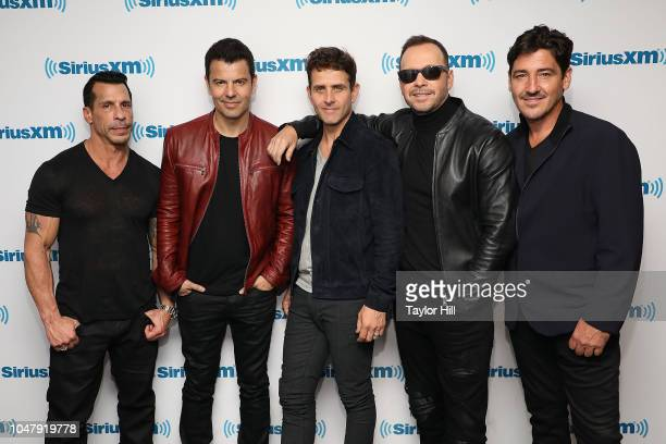 Danny Mack Jordan Knight Joey McIntyre Donnie Wahlberg and Jonathan Knight of New Kids on the Block visit the SiriusXM Studios on October 8 2018 in...