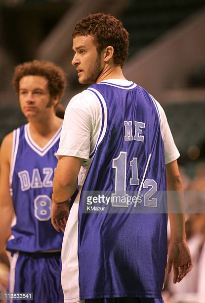 Danny Masterson and Justin Timberlake during *NSYNC's Challenge for the Children VI Day 3 Basketball Game at Office Depot Center in Sunrise Florida...