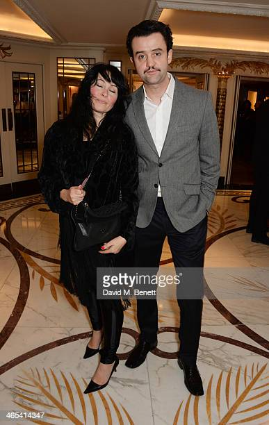 Danny Mays and Louise Burton attend a drinks reception at the South Bank Sky Arts awards at the Dorchester Hotel on January 27 2014 in London England
