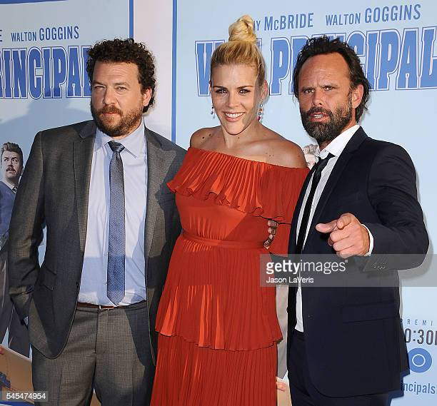 Danny McBride Busy Philipps and Walton Goggins attend the premiere of 'Vice Principals' at Avalon Hollywood on July 7 2016 in Los Angeles California