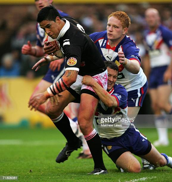 Danny McGuire of Great Britaini tackles of Shontayne Hape of New Zealand during the XXXX Test match between Great Britain and New Zealand at Knowsley...