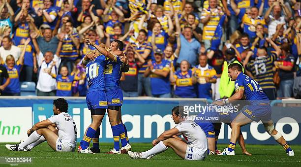 Danny McGuire of Leeds celebrates his teams victory during the Carnegie Challenge Cup Semi Final match between Leeds Rhinos and St Helens at the...