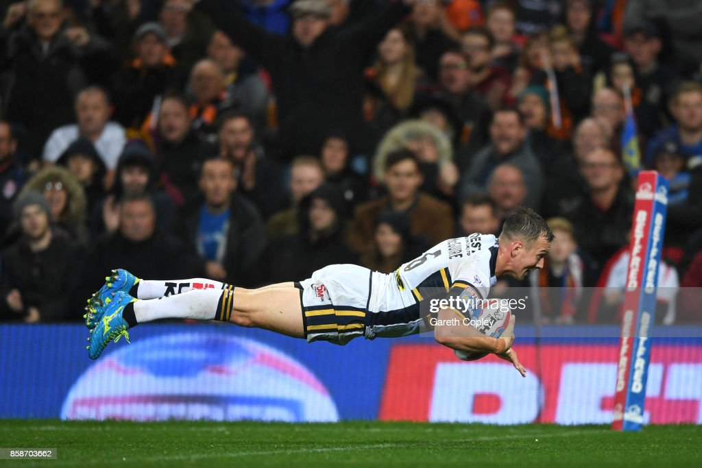 Danny McGuire of Leeds Rhinos scores the second try during the Betfred Super League Grand Final match between Castleford Tigers and Leeds Rhinos at Old Trafford on October 7, 2017 in Manchester, England.