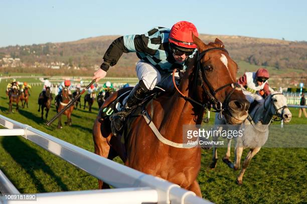 Danny McMenamin riding Nietzsche win The Unibet Greatwood Handicap Hurdle at Cheltenham Racecourse on November 18 2018 in Cheltenham England