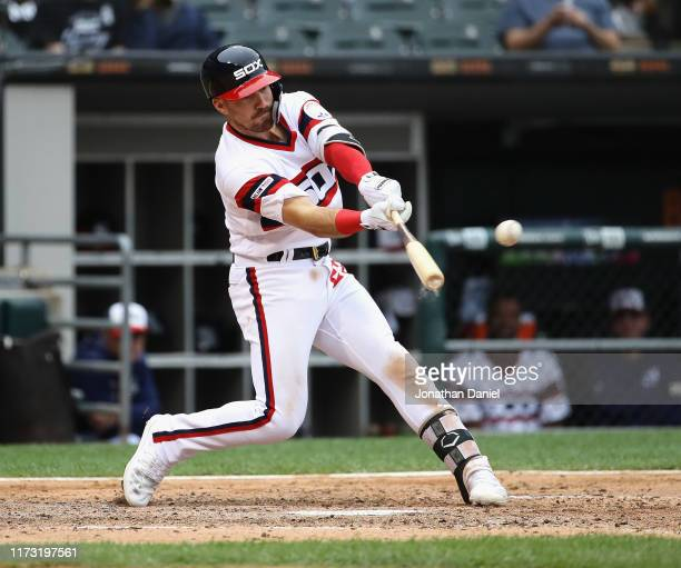 Danny Mendick of the Chicago White Sox hits his first Major League home run in the 5th inning against the Los Angeles Angels at Guaranteed Rate Field...