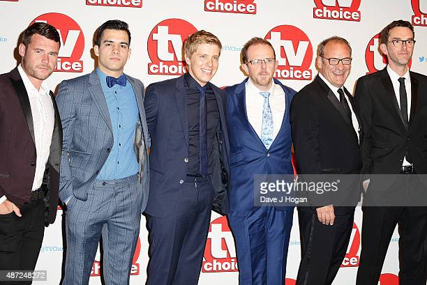 Danny Miller Adam Fielding Ryan Hawley Liam Fox Nick Miles and Mark Charnock attend the TV Choice Awards 2015 at Hilton Park Lane on September 7 2015...