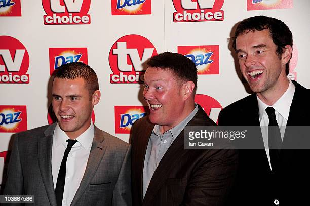 Danny Miller Dominic Brunt and Mark Charnock arrive at the TV Choice Awards 2010 at The Dorchester on September 6 2010 in London England