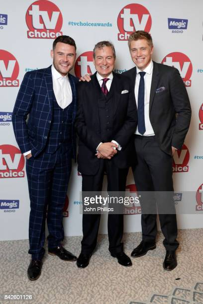 Danny Miller John Middleton and Ryan Hawley arrive for the TV Choice Awards at The Dorchester on September 4 2017 in London England