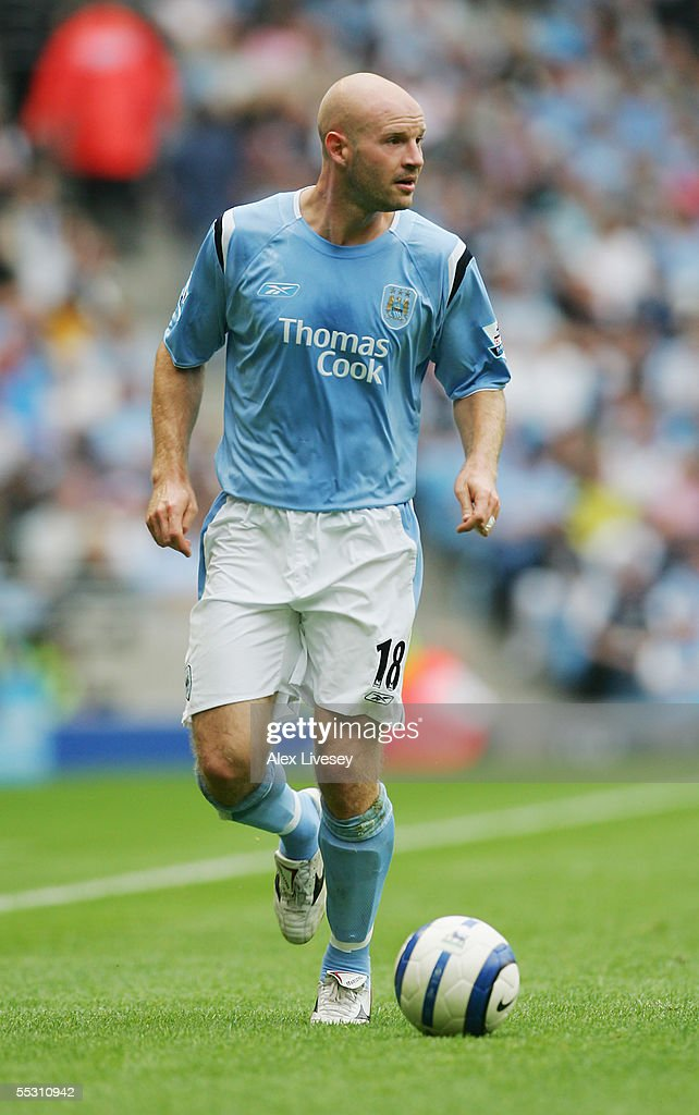 Danny Mills of Manchester City in action during the Barclays Premiership match between Manchester City and Portsmouth at the City of Manchester Stadium on August 27, 2005 in Manchester, England.