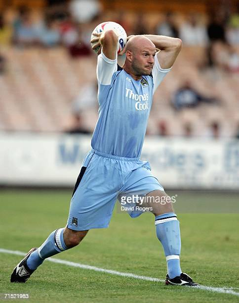 Danny Mills of Manchester City takes a throw in during the preseason friendly match between Port Vale and Manchester City at Vale Park on July 26...