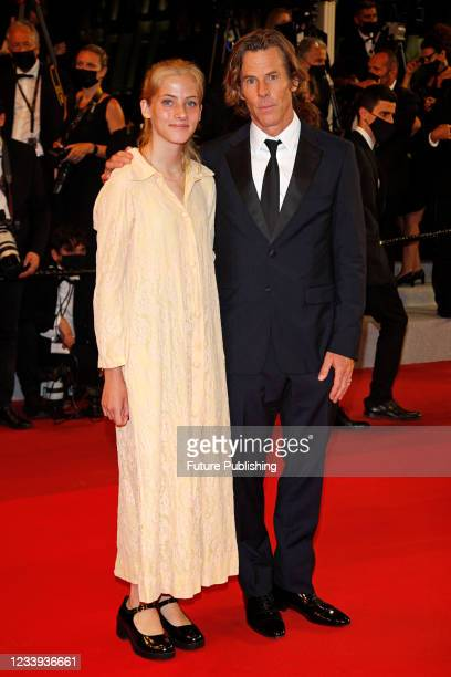 Danny Moder and daughter Hazel Moder arrive at the premiere of 'Flag Day' during the 74th Cannes Film Festival held at the Palais des Festivals in...